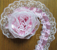 5m 2-layer Pink White Pleated Organza Dot Lace Edge Trim Gathered Mesh Ribbon