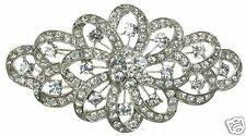 LARGE SILVER DIAMANTE BROOCH VINTAGE PIN BRIDAL BOUQUET SHOE CAKE - NEW - UK