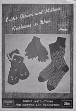 Hilde 52 Socks Gloves Mittens Fashions Knitting Crochet Patterns 4 Needle 1946
