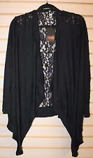 NEW WOMENS PLUS SIZE 4X 5X 30W 32W BLACK KNIT WATERFALL FRONT CARDIGAN LACE BACK