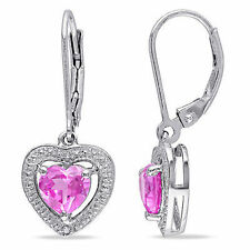 Sterling Silver Diamond And 2 CT Pink Sapphire Leverback Drop Earrings I3