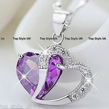 925 Silver Purple Heart Crystal Necklace Women Gift For Her Mum Present Wife 4BD