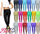 New Women's Shiny American Disco High Waisted Pvc Wet Look Pants Leggings 6-16