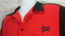 COORS LIGHT RED & BLACK XL BUTTON FRONT BOWLING SHIRT BEER DRINKING ALCOHOL FUN