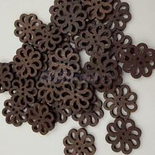 80x Vintage Hollow Flower Wooden Buttons for DIY Cardmaking Sewing Craft