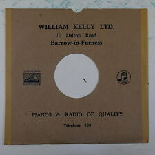 """78rpm 10"""" card gramophone record sleeve / cover WILLIAM KELLY barrow , brown"""