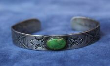 "2¼"" Fred Harvey Era Navajo Indian Marked Sterling Silver TURQUOISE Bracelet"