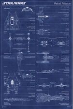 24x36 Star Wars Rebel Alliance Machine Blueprint Poster shrink wrapped