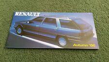 Automne 1986 renault uk gamme brochure + spec/prix 5 gt turbo 9 11 21 25 gta