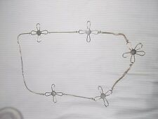 Vintage Retro Long Silver Coloured Cross & Flower detail chain