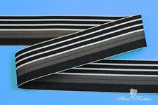 "5 yards 1.5"" Luxury Gray Black White Stripes Woven Grosgrain Ribbon"