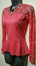 Ladies Size 12 Lace Top Coral Boohoo BNWT Fitted Peplum Body Top