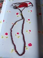STRING OF GENUINE EARTH MINED FACETED GARNET BEADS PRAYER NECKLACE ? 489-4