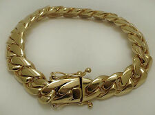 "Solid 14K Gold Miami Men's Cuban Curb Link Bracelet Heavy 8"" 113.6 Grams 13mm"
