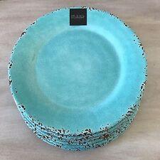 II Mulino Rustic Aqua Blue Crackle Melamine Dinner Plates SET OF 6 New!