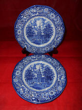 8 STAFFORDSHIRE LIBERTY BLUE Colonial Scenes DINNER PLATES Independence Hall