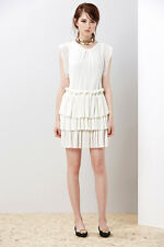 MAJE RADZY Pleated Ruffle Dress White Size S Orig. $470 NEW