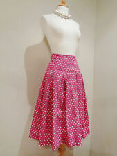 TOAST PINK IVORY SPOTTY PURE COTTON FULL FLARED SKIRT SZ UK 8