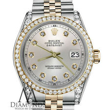 Rolex 26mm Datejust 18KGold Stainless Steel TwoTone Silver Diamond Numbers