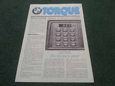 Spring 1981 No.17 BMW TORQUE Newsletter UK BROCHURE 628 CSi / ON BOARD COMPUTER