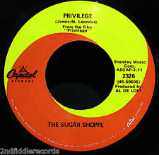 THE SUGAR SHOPPE-Privilege & Poor Papa-Teen Bubblegum Rock 45-CAPITOL #2326