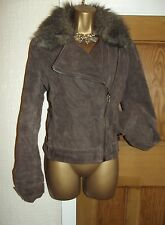FABULOUS ❤️ JANE NORMAN Suede Effect / Faux Fur Flying Jacket Size 10 - 12