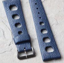 Vintage watch 22mm Swiss Tropic blue dive band NOS 1960/70s Acier premium buckle