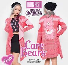 Iron Fist Care Bears Love A Lot Pink Drape Sweater Cardigan Size Medium