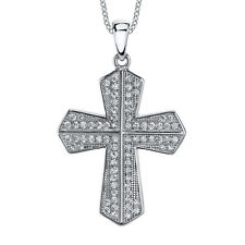 Sterling Silver Cubic Zirconia CZ Cross Pendant Necklace Bling Crystals