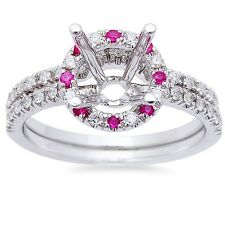 .49ct Pink Sapphire & Diamond  Halo Semi mount Engagement Wedding Bridal Set