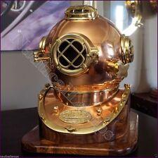 Full size Antique Brass Diving Divers Helmet Vintage Mark V w/Wooden Base GIFDM4