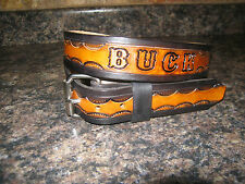 CUSTOM MADE LEATHER BELT BROWN & BLACK WITH YOUR  NAME HANDTOOLED 1 1/2'' WIDTH