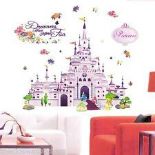Castillo Princesa Niña Rosa Pared Adhesivo Decoración Arte Infantil Habitación 90X60