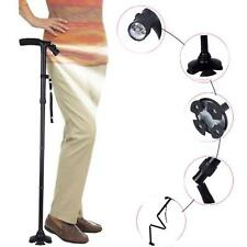 Adjustable Handle Folding Cane With LED Lights Black Walking Stick Pivot Base