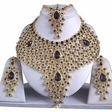 PURPLE GOLD INDIAN COSTUME JEWELLERY NECKLACE EARRINGS MATHA PATTI SET BRIDAL N