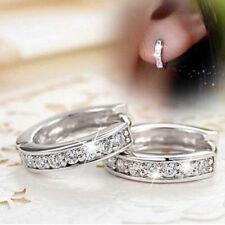 Sweet Women Silver Plated  Ear Stud CZ Crystal Rhinestone Hoop Earrings Jewelry