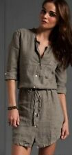 Nwt $185 James Perse Summer Linen Shirt Dress Top  WDC6582 Ghost Brown GST 2/M