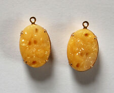 VINTAGE 2 YELLOW CUT OUT OVAL FLOWER PENDANT BEADS 13x18mm JAPANESE PEKING GLASS
