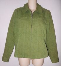 Women's Olive Denim Vine Pattern Zip Front Jacket~CHRISTOPHER&BANKS~Size S/SMALL