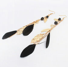 Vintage Bohemia Long Feather Leaves Drop Party Dangling Chain Earrings Jewelry