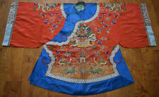 Antique 19th,c.early 20th,c.Chinese Silk and Gold thread Embroidered Dragon Robe
