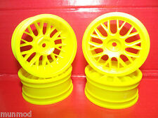 1/10 TOURING CAR WHEELS BS MESH 12 MM HEX YELLOW 2 DEG OFFSET 4PCS