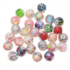 20pcs Mixed Random Color Resin European Charms Beads Silvery Core Fit Bracelet C