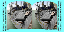 USS GALENA Ironclad Cannon Artillery Civil War SV Stereoview Stereocard 3D 00826