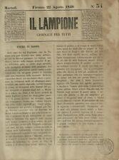Il Lampione di Collodi Giornale Satirico Risorgimento N. 34 Armistizio 1848