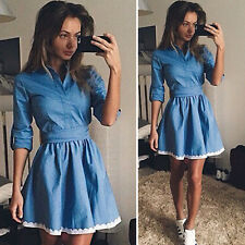 Women's Long Sleeve Casual Denim Jeans Tunic Dress Ladies Party Mini Shirt Dress