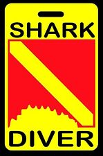 Safety Yellow Shark Diver w/ Shark Bite SCUBA Diving Luggage/Gear Bag Tag - New
