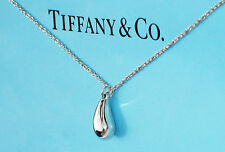 Tiffany & Co Elsa Peretti Sterling Silver Teardrop 12mm Pendant Necklace