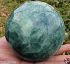 80MM Natural  Glow In The Dark Stone crystal Fluorite sphere ball AAA