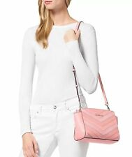 NWT in Pack $268 MICHAEL KORS Leather Medium Chevron Selma Messenger Pink Gold